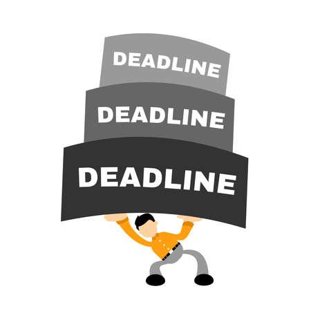 business worker under pressure deadline stress concept cartoon doodle flat design style vector illustration Illusztráció