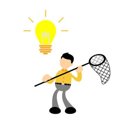 businessman worker with pointing to the light bulb cartoon doodle. Idea concept flat design style vector illustration Illusztráció