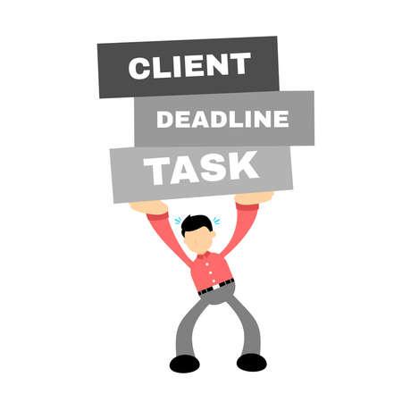 business worker under pressure stress client deadline task cartoon doodle flat design style vector illustration
