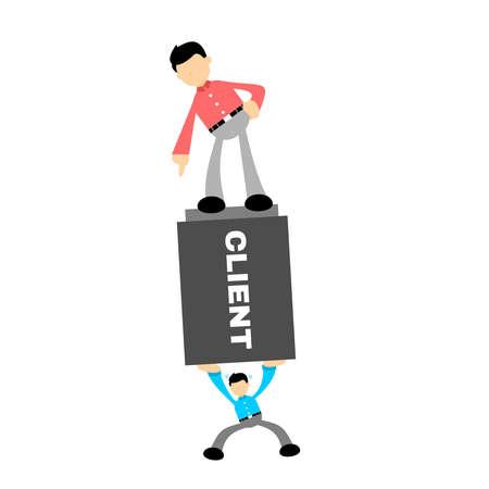 businessman worker under pressure stress cartoon doodle flat design style vector illustration