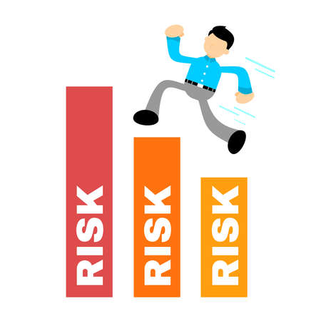 businessman takes a risk in order to achieve the goal cartoon doodle flat design style vector illustration