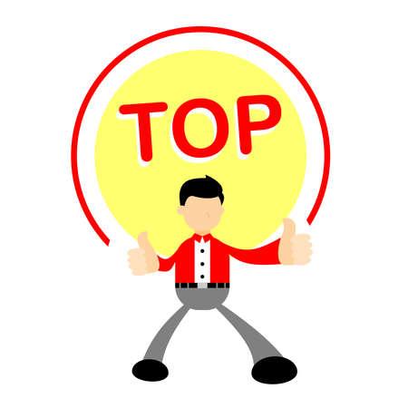 businessman worker thumb up like character cartoon doodle flat design style vector illustration 矢量图像