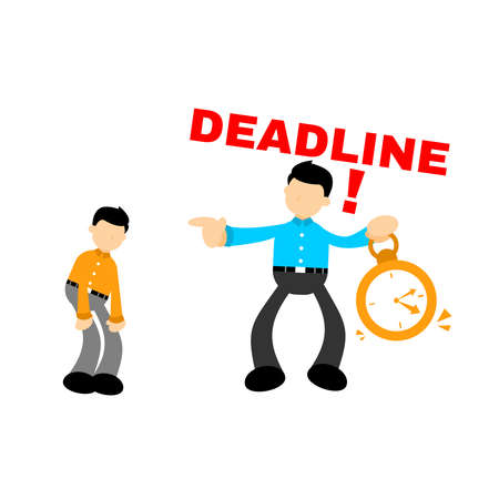 office workers and business people working overtime at Deadline cartoon doodle flat design style vector illustration