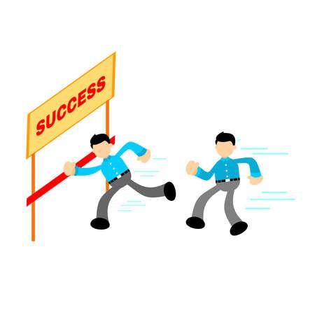 businessman worker competition race winner cartoon doodle flat design style vector illustration Illusztráció