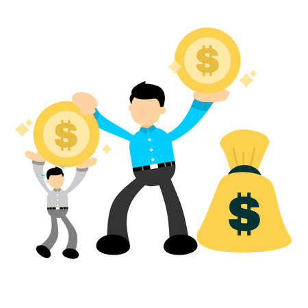 business worker concept hand offers money to lying business man cartoon doodle flat design style vector illustration