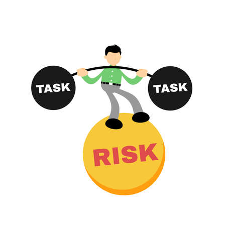 stress businessman work task under risk cartoon doodle flat design style vector illustration