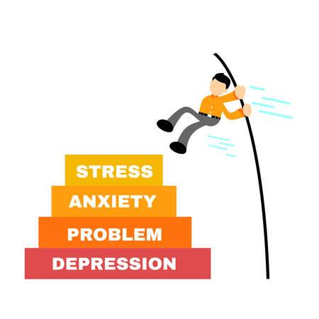businessman worker pass stress anxiety problem depression problem with jump stick cartoon doodle flat design style vector illustration Illusztráció