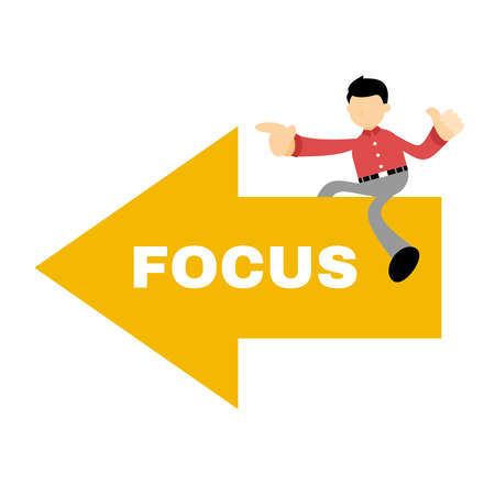 businessman worker on focus board point cartoon doodle flat design style vector illustration Ilustração