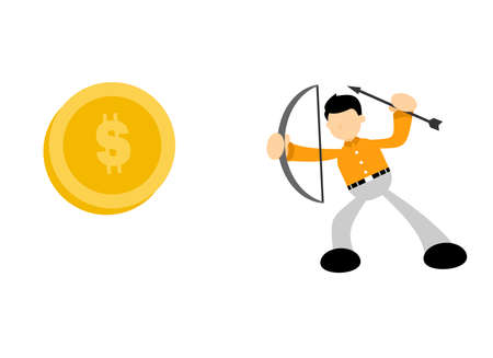 businessman focus for target money cartoon doodle flat design style vector illustration