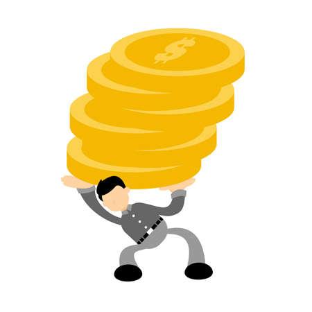 businessman worker pick big coin dollar economy cartoon doodle flat design style vector illustration Illusztráció