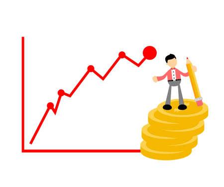 businessman write money business graphic cartoon doodle flat design style vector illustration