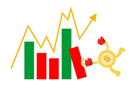 money dollar economy gold coin punch red chart candle stick cartoon doodle flat design style vector illustration