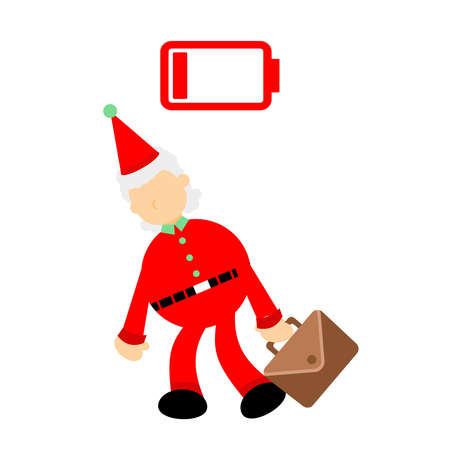 christmas red santa worker tired exhausted low energy cartoon doodle flat design style vector illustration