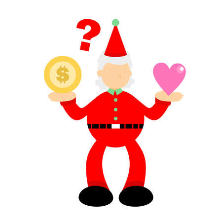 christmas red santa claus confuse for money coin dollar or pink heart love cartoon doodle flat design style vector illustration