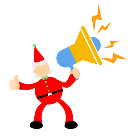 christmas red santa claus using speaker for loud sound cartoon doodle flat design style vector illustration