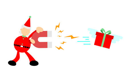 christmas red santa attract gift box using magnet cartoon doodle flat design style vector illustration 矢量图像