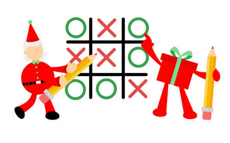 christmas red santa claus and gift box play tic tac toe cartoon doodle flat design style vector illustration 일러스트