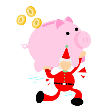 happy christmas red santa claus and pig bank money dollar economy cartoon doodle flat design style illustration vector illustration Illustration