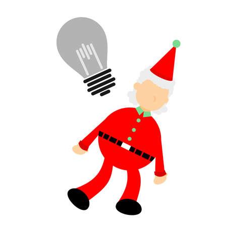 christmas red santa claus with dead idea bulb lamp cartoon doodle flat design style vector illustration