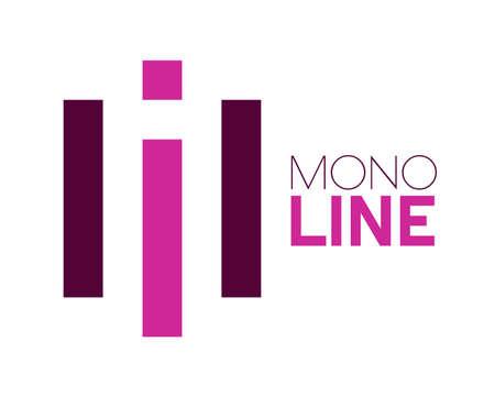mono line purple logo design vector illustration 向量圖像