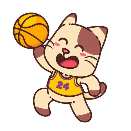 Happy Brown Cat Play Basketball Sport Cartoon Doodle Cute Adorable Vector Illustration Character Flat Design Sticker Isolated