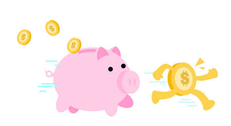 cartoon gold coin and pig bank economy management doodle vector illustration flat design style