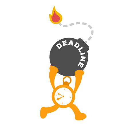 Clock time run for bomb deadline cartoon doodle vector illustration flat design style