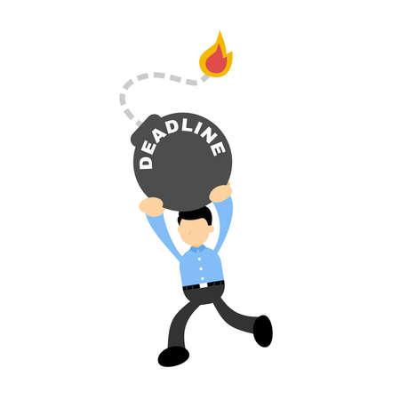 businessman worker run for time bomb deadline cartoon doodle vector illustration flat design style