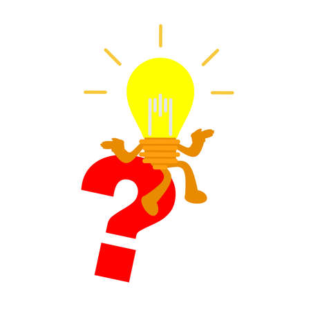 lamp light idea and ask question red icon cartoon doodle flat design style vector illustration