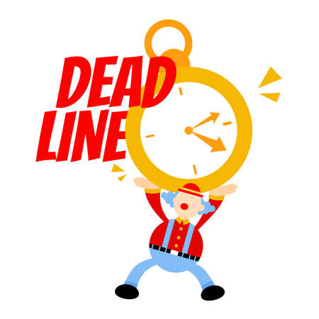clown stress out for clock time deadline schedule cartoon doodle vector illustration flat design style