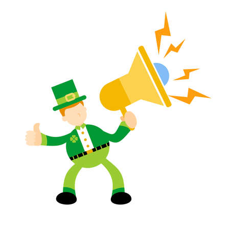 happy green leprechaun and announce mega speaker sound cartoon flat design style vector illustration