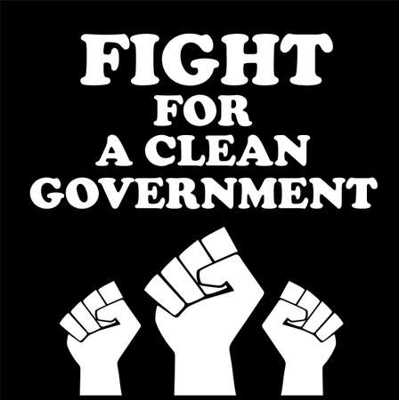 fight for a clean government poster design vector illustration