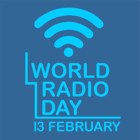 world radio day communication design concept february blue vector illustration Çizim