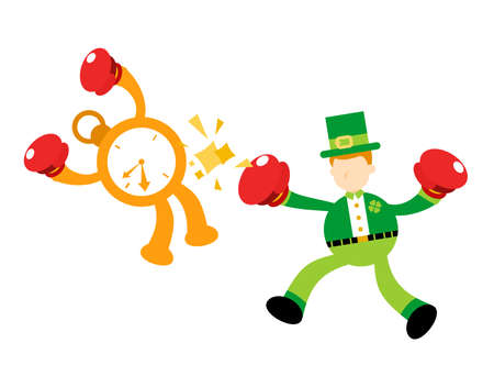 leprechaun fight boxing with clock time cartoon doodle flat design style vector illustration