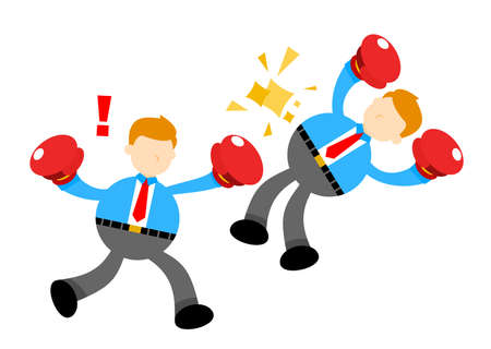 businessman worker competition fight boxing with each other cartoon doodle flat design style vector illustration
