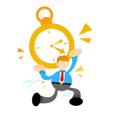 businessman pick time clock cartoon doodle flat design style vector illustration