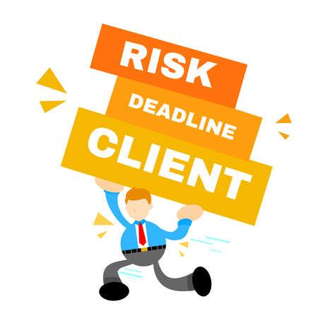 businessman pick office task client pressure cartoon doodle flat design style vector illustration