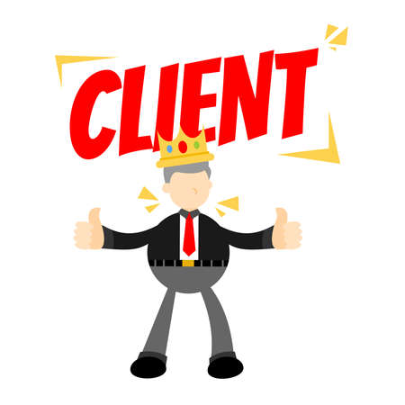 client is king businessman people cartoon doodle flat design style vector illustration Vector Illustratie