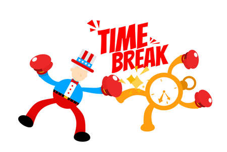 Uncle sam america people man fight boxing with clock time cartoon doodle flat design style vector illustration