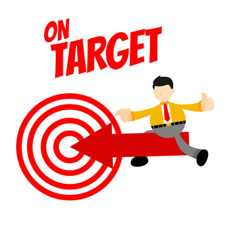 businessman worker and target point success mark cartoon doodle flat design style vector illustration
