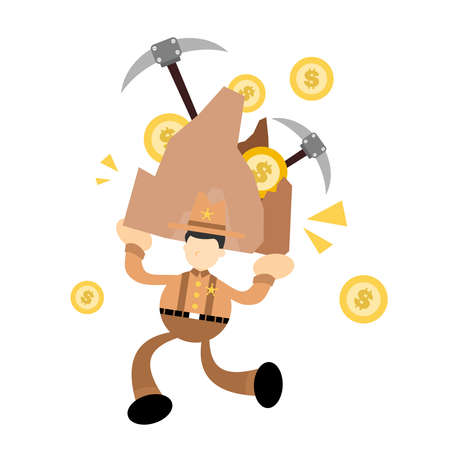 cowboy america mining dollar money coin cartoon doodle flat design style vector illustration 向量圖像
