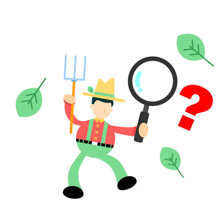 farmer man agriculture and magnifying glass find cartoon doodle flat design style vector illustration