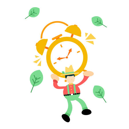 farmer man pick time clock cartoon doodle flat design style vector illustration