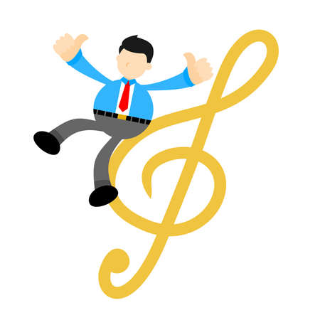businessman worker and music melody clef music note cartoon doodle flat design style vector illustration Vektorgrafik