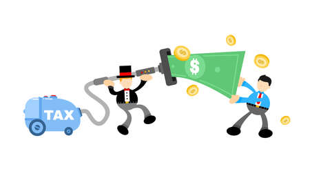 businessman worker and vacuum cleaner clean catch money cartoon doodle flat design style vector illustration