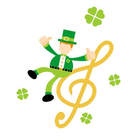 leprechaun shamrock celtic and music melody clef music note cartoon doodle flat design style vector illustration