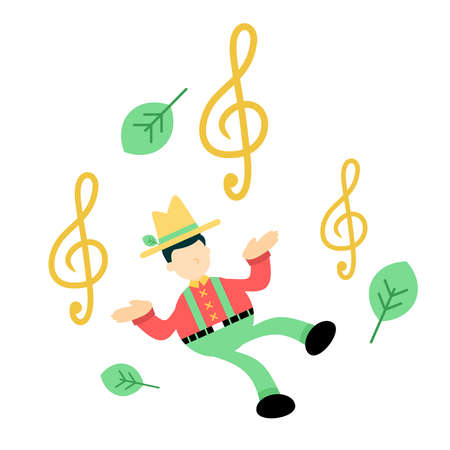 happy farmer man agriculture and melody clef music note cartoon doodle flat design style vector illustration