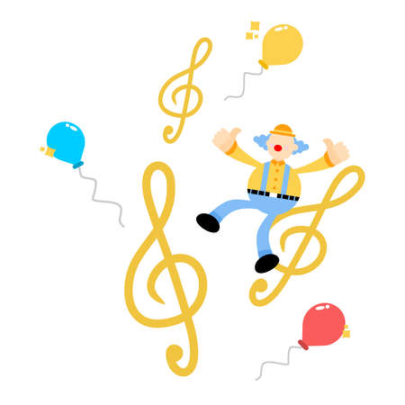 happy clown and melody clef music note cartoon doodle flat design style vector illustration