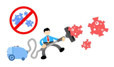 businessman worker and vacuum cleaner clean catch virus corona pathogen cartoon doodle flat design style vector illustration