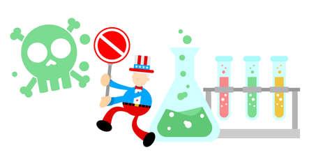 uncle sam america stop hazardous skull alert danger toxic laboratory formula cartoon doodle flat design style vector illustration